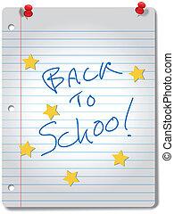 zurück schule, stern, notizbuch, bildung, vorräte