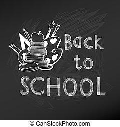 zurück schule, tafel, abbildung, -, hand-drawn, vektor