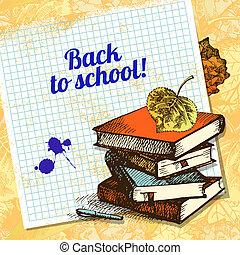 zurück schule, vektor, design., hand, gezeichnet, weinlese, hintergrund