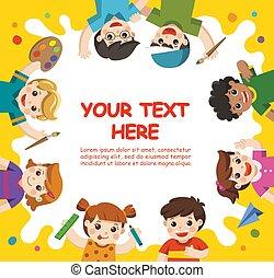 zurück, zu, school., kunst, kids., reizend, kinder, haben spaß, und, bereit, erhalten, gemälde, zusammen., schablone, für, werbung, brochure., kinder, aufsehen, mit, interest.
