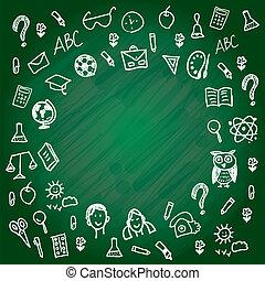 zurück, zu, school., tafel, tafelkreide, sketch., weiße linie, auf, a, grün, b