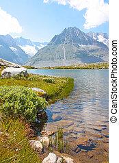 zurückwerfend, berge, alps, schweiz, wolkenhimmel, see, ...