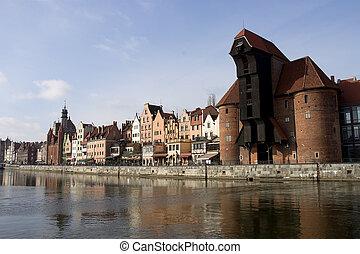 zuraw, polônia, guindaste, gdansk, medieval