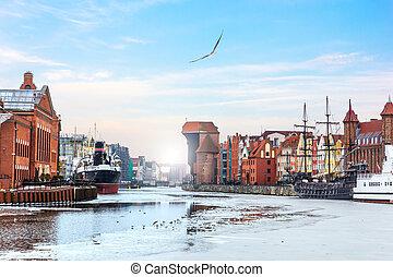 zuraw, porto, guindaste, e, outro, vistas, de, gdansk,...