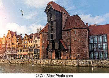 zuraw, um, famosos, gdansk, porto, guindaste, por, a,...