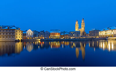 Zurich and Limmat river at night