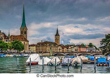 Zurich center on Limmat river