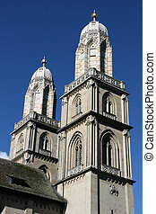 Beautiful towers of Romanesque style ex-cathedral church in Zurich, Switzerland. The church had important role in both Protestant and Catholic denominations.