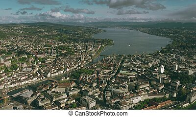 Zurich cityscape and the lake, aerial view. Switzerland