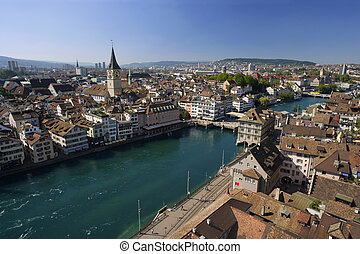 Cityscape of Zurich, Switzerland. Taken from a church tower overlooking the Limmat River.