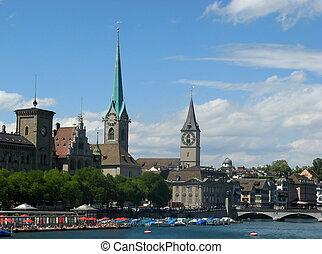 Zurich cityscape in summer