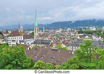 Zurich in a rainy day