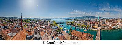 zurich, lago, famoso, iglesia, suiza, fraumunster, río de ...