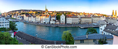 Zurich. Panoramic aerial view of the city at sunset.