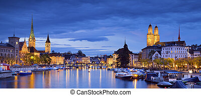 Panoramic image of Zurich during twilight blue hour.