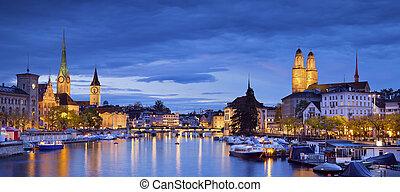 Zurich. - Panoramic image of Zurich during twilight blue...
