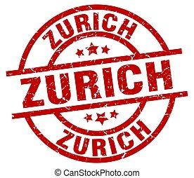 Zurich red round grunge stamp