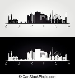 Zurich skyline and landmarks silhouette, black and white...
