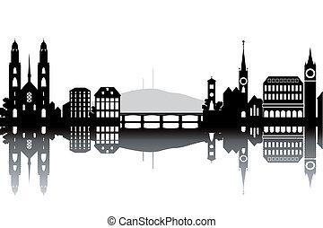 Zurich skyline - black and white vector illustration