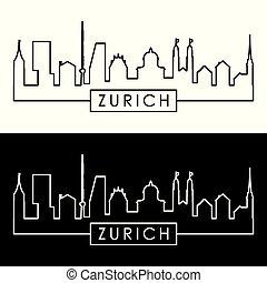 Zurich skyline. Linear style. Editable vector file.