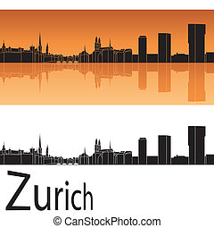 Zurich skyline in orange background in editable vector file