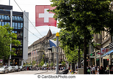 zurich, suisse, bahnhofstrasse