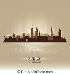 Zurich Switzerland city skyline vector silhouette...