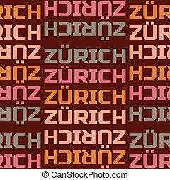 Zurich, Switzerland seamless pattern