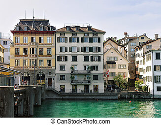 Historical Buildings at Limmat River Quay of Zurich