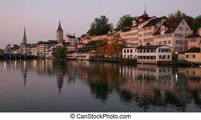 Swiss city Zurich at dawn