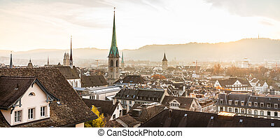 Zurich, Switzerland - view of the old town from ETH