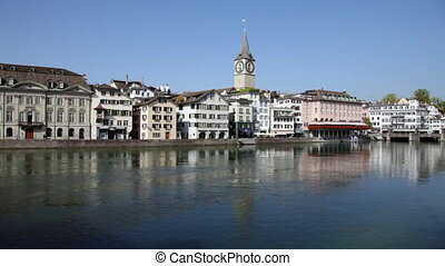 Zurich Cityscape with the River Limmat on a Sunny Day (Switzerland)