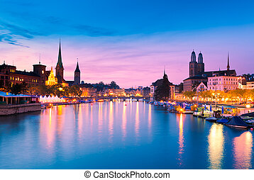 Zurich, Switzerland - Zurich Skyline at the Blue Hour