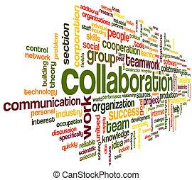 zusammenarbeit, begriff, in, wort, etikett, wolke