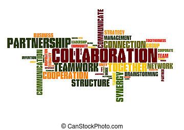 zusammenarbeit, wort, wolke