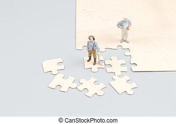 zusammenarbeiten, puzzel, stichsaege, auf, stücke, geschäftsmänner, besitz