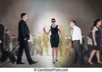 zusammengesetzt, geschäftsfrau, bild, augenbinde, rothaarige