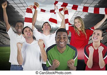 zusammengesetzt, verschieden, fußball, bild, fans