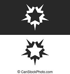 zusammenlaufen, leute, erfolgreich, formung, pfeile, logo, form, gemeinschaftsarbeit, fünf-spitz, stern, fünf, ikone