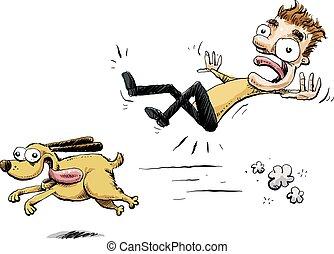 zusammenstoß, rennender , hund