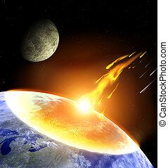 zusammenstoß, von, ein, asteroid, mit, erde