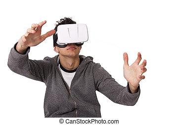 zuschauer, junger, virtuelle wirklichkeit