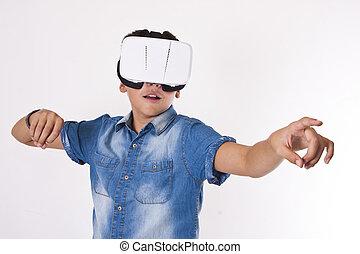 zuschauer, kind, freigestellt, virtuelle wirklichkeit