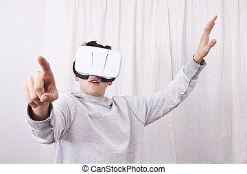 zuschauer, kind, virtuelle wirklichkeit