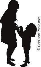 zuster, spelend, silhouette