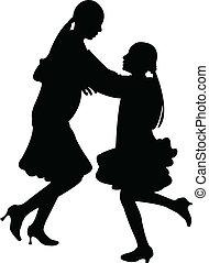 zuster, spelend, springt, silhouette