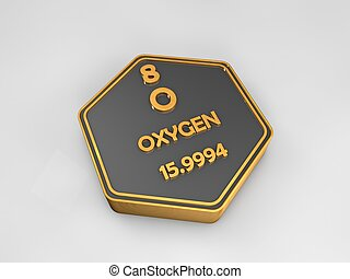zuurstof, -, o, -, chemisch, element, periodieke tafel, zeshoekig, vorm, 3d, illustratie