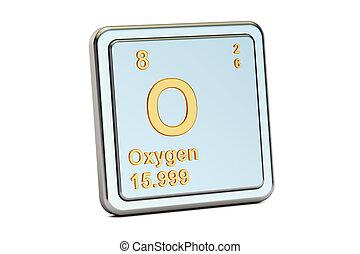 zuurstof, o, chemisch, element, teken., 3d, vertolking
