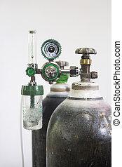 zuurstoffles, en, regelaar, meten