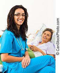 zuvorkommend, krankenschwestern, mit, patienten